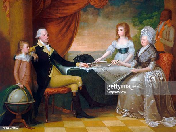 The Washington Family by Edward Savage oil on canvas 1789 96 from the National Gallery Washington DC The Washington family sits in a room overlooking...