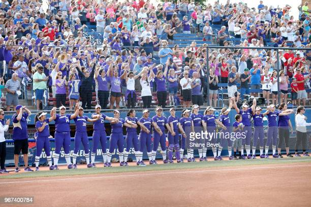The Washington Huskies are introduced prior to the Division I Women's Softball Championship held at USA Softball Hall of Fame Stadium OGE Energy...