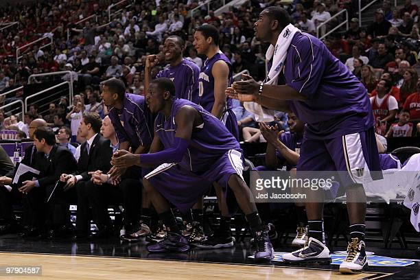The Washington Huskies bench reacts to a play against the New Mexico Lobos during the second round of the 2010 NCAA men's basketball tournament at HP...