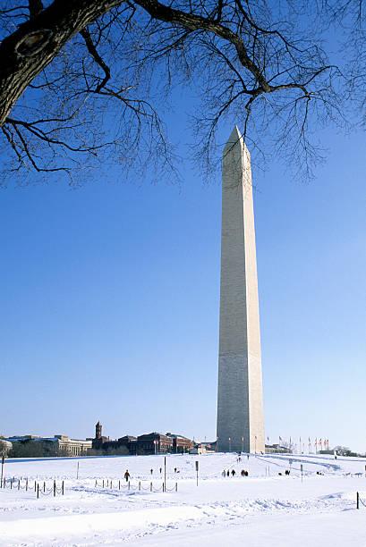 The Washington Monument and snow, Washington DC