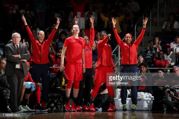 The Washington Mystics bench celebrates during the game against the New York Liberty on August 25 2019 at the St Elizabeths East Entertainment and...