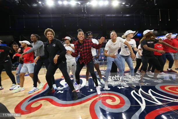 The Washington Mystics dance with the fans during the Washington Mystics Party on October 11 2019 at St Elizabeths East Entertainment Sports Arena in...