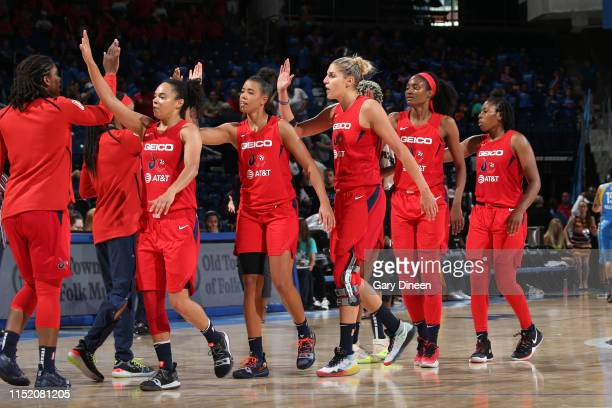 The Washington Mystics highfives each other after the game against the Chicago Sky on June 26 2019 at the Wintrust Arena in Chicago Illinois NOTE TO...