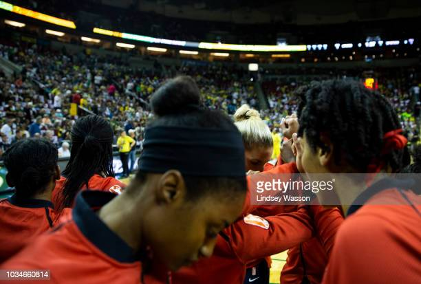 The Washington Mystics huddle before Game 2 of the WNBA Finals against the Seattle Storm at KeyArena on September 9 2018 in Seattle Washington The...