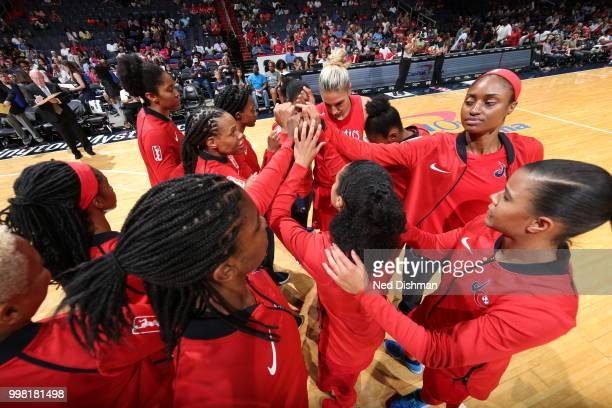 The Washington Mystics huddle before the game against the Chicago Sky on June 13 2018 at Capital One Arena in Washington DC NOTE TO USER User...