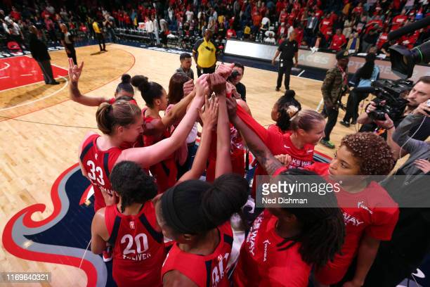 The Washington Mystics huddle during the game against the Las Vegas Aces during Game Two of the WNBA Semi Finals on September 19 2019 at the St...