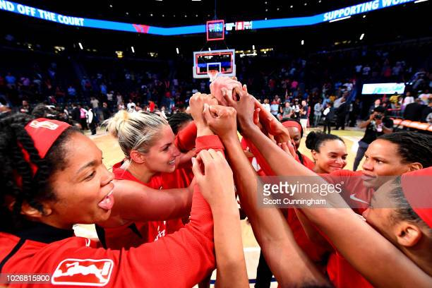 The Washington Mystics huddle up after winning the game against the Atlanta Dream during Game Five of the 2018 WNBA Semifinals on September 04 2018...