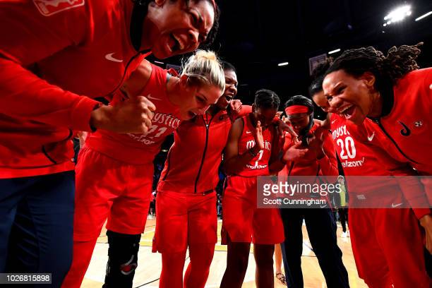 The Washington Mystics huddle up against the Atlanta Dream during Game Five of the 2018 WNBA Semifinals on September 04 2018 at McCamish Pavilion in...