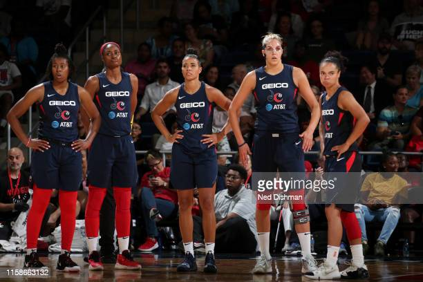 The Washington Mystics looks on against the Phoenix Mercury on July 30 2019 at the St Elizabeths East Entertainment and Sports Arena in Washington DC...