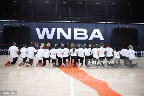 The Washington Mystics pose for a photo at Feld Entertainment Center on August 26, 2020 in Palmetto, Florida. NOTE TO USER: User expressly...