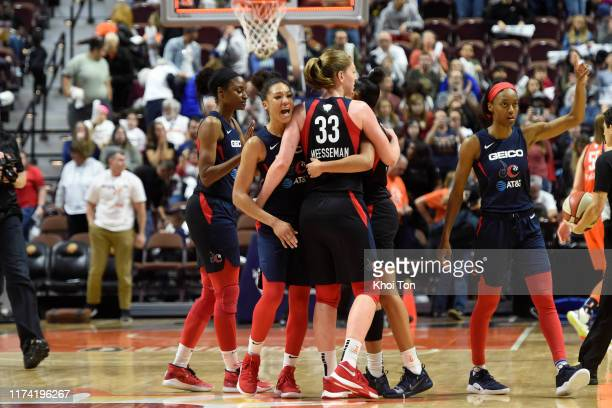 The Washington Mystics react against the Connecticut Sun during Game Three of the 2019 WNBA Finals on October 6 2019 at the Mohegan Sun Arena in...