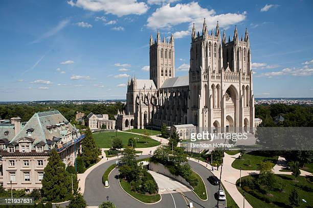 The Washington National Cathedral is seen on August 23 2011 in Washington DC According to reports the church suffered minor damage to several spires...