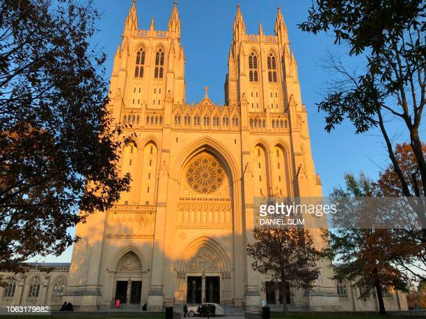 The Washington National Cathedral is viewed on November 17 2018 in WashingtonDC The cathedral is the secondlargest church building in the United...