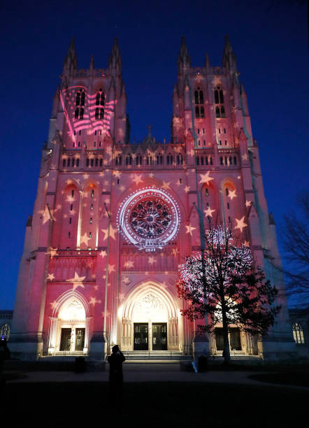 DC: The National Cathedral Lights Up In Honor Of President Joe Biden's Inauguration