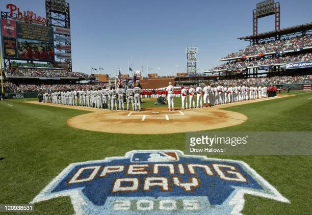 The Washington Nationals and Philadelphia Phillies observe the National Anthem on opening day The Philadelphia Phillies defeated the Washington...