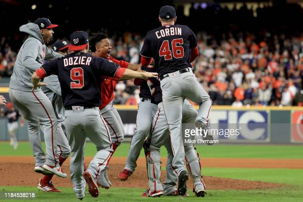 The Washington Nationals celebrate after defeating the Houston Astros 62 in Game Seven to win the 2019 World Series in Game Seven of the 2019 World...
