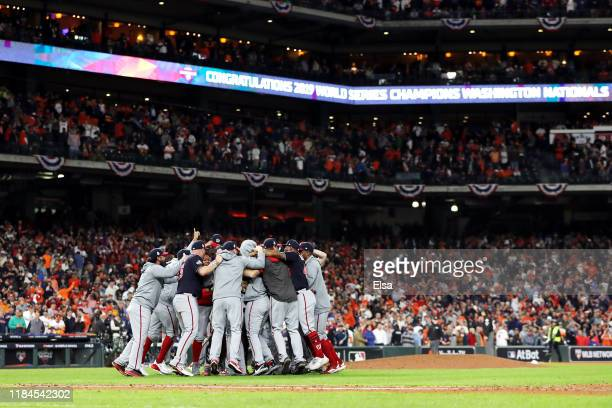The Washington Nationals celebrate after defeating the Houston Astros 6-2 in Game Seven to win the 2019 World Series in Game Seven of the 2019 World...