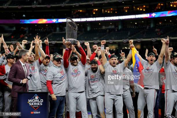 The Washington Nationals celebrate after defeating the Houston Astros in Game Seven to win the 2019 World Series at Minute Maid Park on October 30...