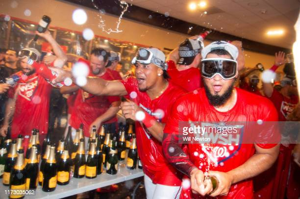 The Washington Nationals celebrate after defeating the Milwaukee Brewers for the National League Wild Card game at Nationals Park on October 1, 2019...