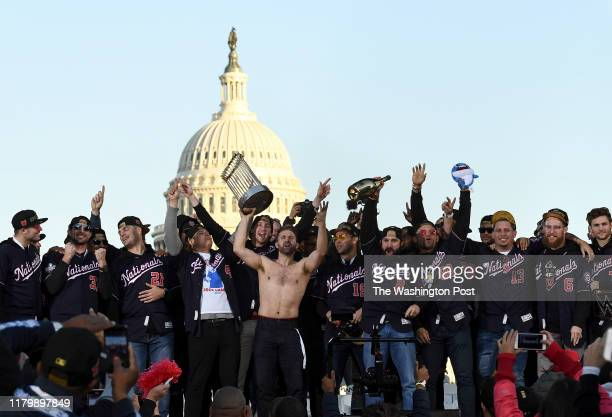 The Washington Nationals celebrate at a rally after the parade honoring their 2019 World Series Champion win on Saturday November 2 2019
