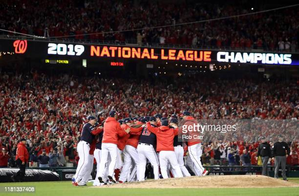 The Washington Nationals celebrate winning game four and the National League Championship Series against the St. Louis Cardinals at Nationals Park on...