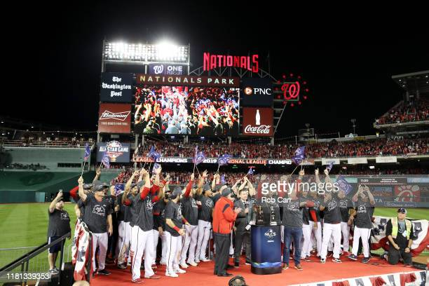The Washington Nationals celebrate winning game four and the National League Championship Series against the St Louis Cardinals at Nationals Park on...