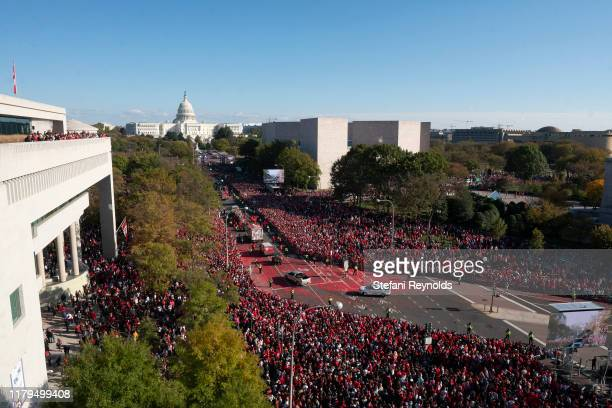 The Washington Nationals hold a parade to celebrate their World Series victory over the Houston Astros on November 2 2019 in Washington DC This is...
