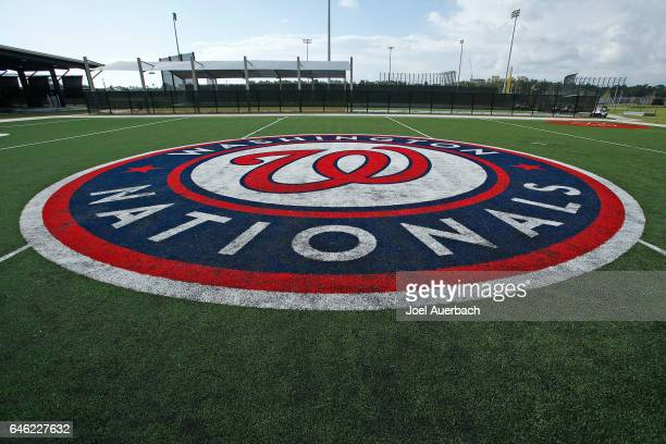 The Washington Nationals logo on one of the practice fields at The Ballpark of the Palm Beaches prior to a spring training game against the Houston...