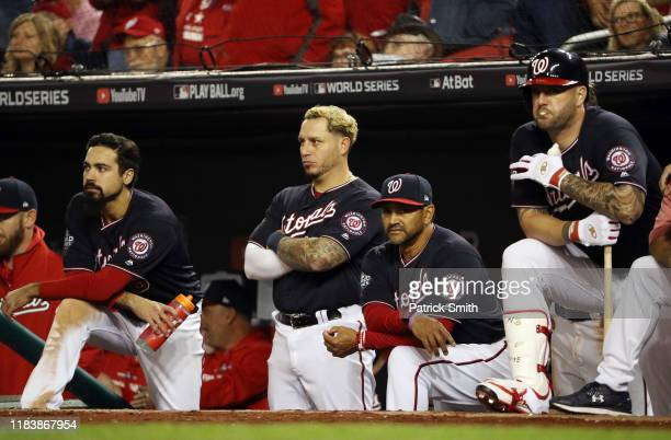 The Washington Nationals look on against the Houston Astros during the ninth inning in Game Five of the 2019 World Series at Nationals Park on...