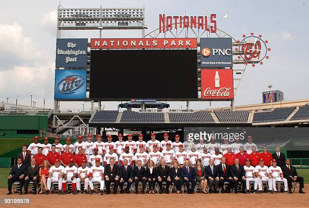 The Washington Nationals pose for their 2009 team photo on August 4 2009 at National Park in Washington DC Top Row Julian MartinezAnderson...