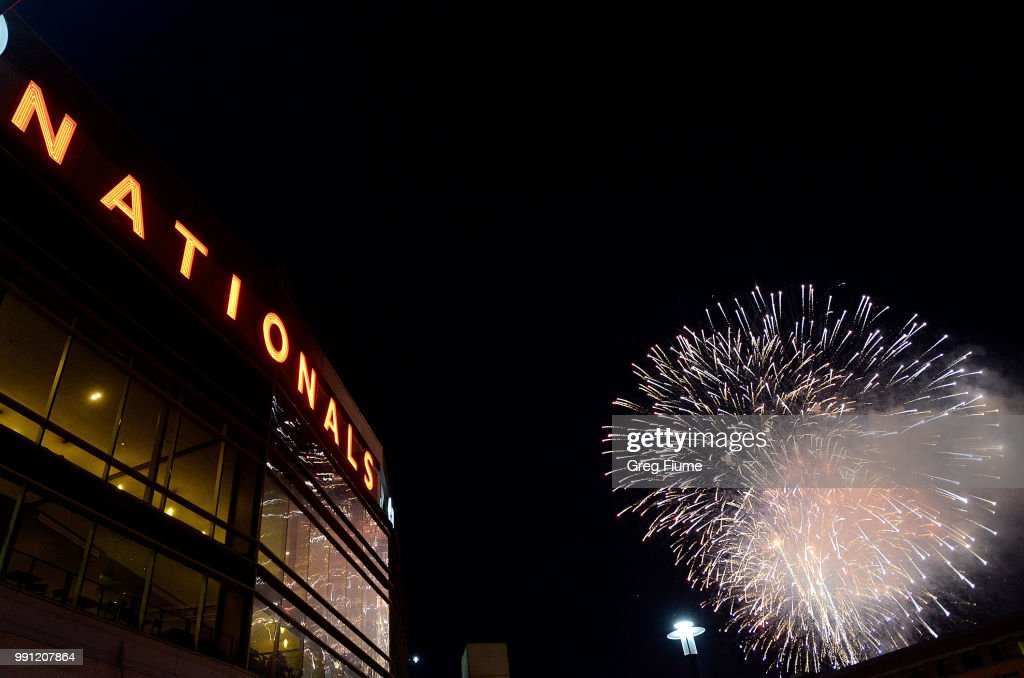 The Washington Nationals set off fireworks after the game against the Boston Red Sox at Nationals Park on July 3, 2018 in Washington, DC.