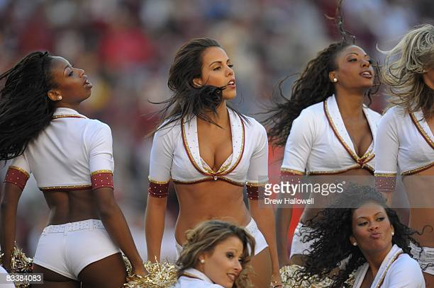 The Washington Redskins cheerleaders dance during the game against the Cleveland Browns on October 19 2008 at FedEx Field in Landover Maryland The...
