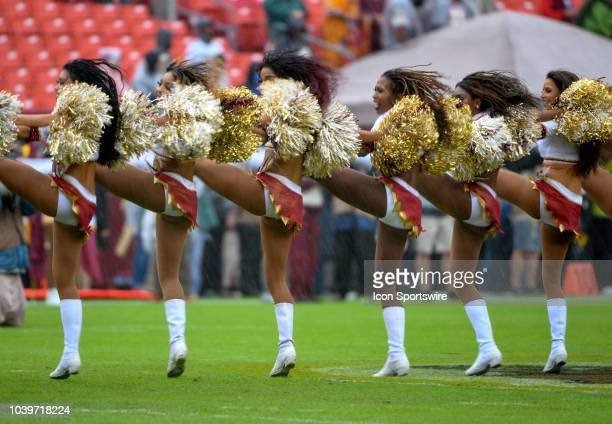 The Washington Redskins cheerleaders perform on September 23 at FedEx Field in Landover MD The Washington Redskins defeated the Green Bay Packers 3117
