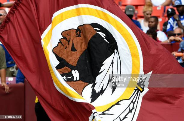 The Washington Redskins logo on a flag during the game against the Indianapolis Colts at FedExField on September 16 2018 in Landover Maryland