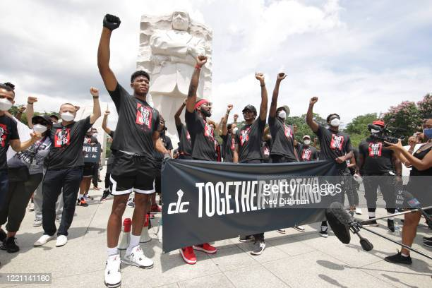 The Washington Wizards and the Washington Mystics players lead Together We Stand peaceful protest march to commemorate Juneteenth on June 19 2020 in...