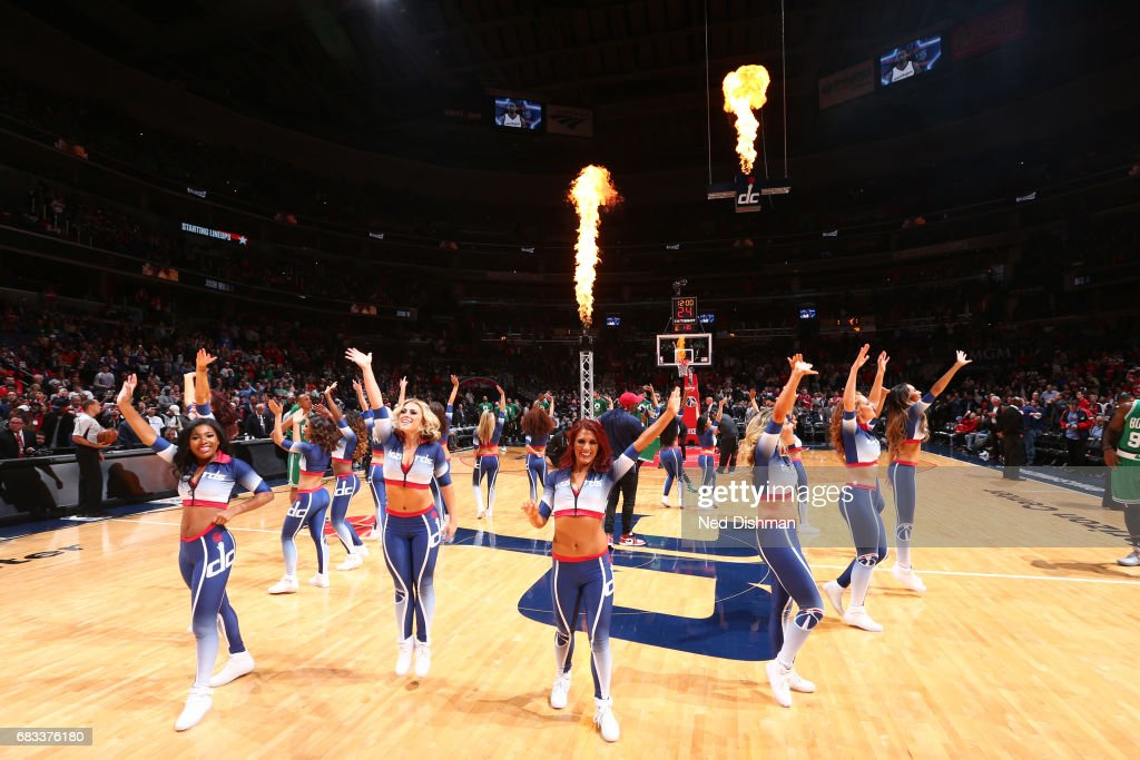 The Washington Wizards dance team performs during Game Six of the Eastern Conference Semifinals of the 2017 NBA Playoffs on May 12, 2017 at Verizon Center in Washington, DC.