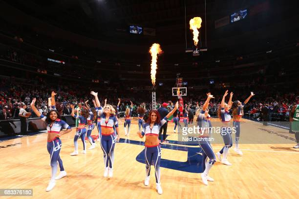 The Washington Wizards dance team performs during Game Six of the Eastern Conference Semifinals of the 2017 NBA Playoffs on May 12 2017 at Verizon...