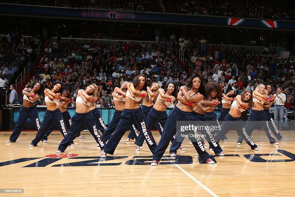 The Washington Wizards dance team performs during halftime of the game against the Miami Heat at the Verizon Center on April 10, 2013 in Washington, DC.