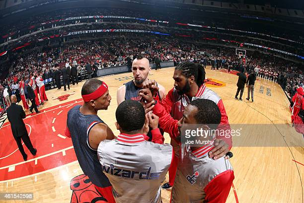 The Washington Wizards huddle before a game against the Chicago Bulls on January 14 2015 at the United Center in Chicago Illinois NOTE TO USER User...