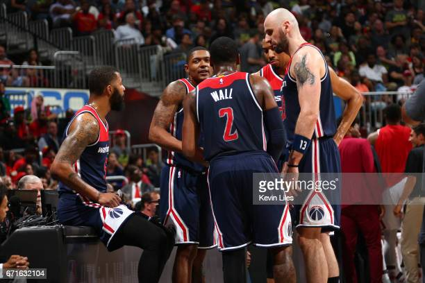 The Washington Wizards huddle during the game against the Atlanta Hawks in Game Three of the Eastern Conference Quarterfinals during the 2017 NBA...