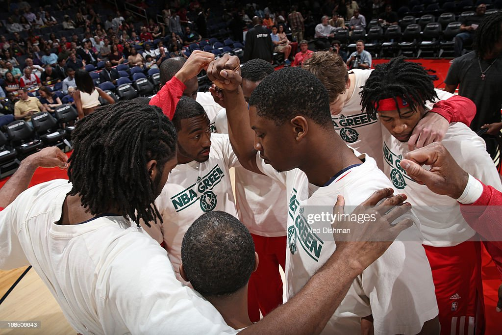 The Washington Wizards huddle up before the game against the Miami Heat at the Verizon Center on April 10, 2013 in Washington, DC.