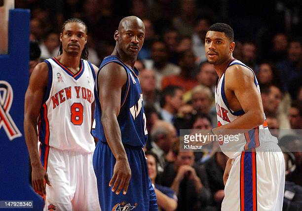 The Washington Wizards Michael Jordan returns to the NBA as a player against the New York Knicks Also pictured is Latrell Sprewell and Allan Houston