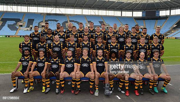 The Wasps 1st team squad pose for a portrait during the Wasps squad photocall for the 20162017 Aviva Premiership Rugby season on August 17 2016 in...