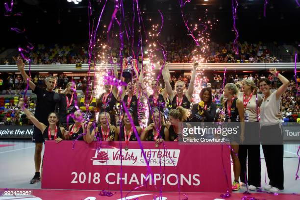 The Wasps team celebrate during the Vitality Netball Superleague Grand Final between Loughborough Lightning and Wasps at Copper Box Arena on July 7...