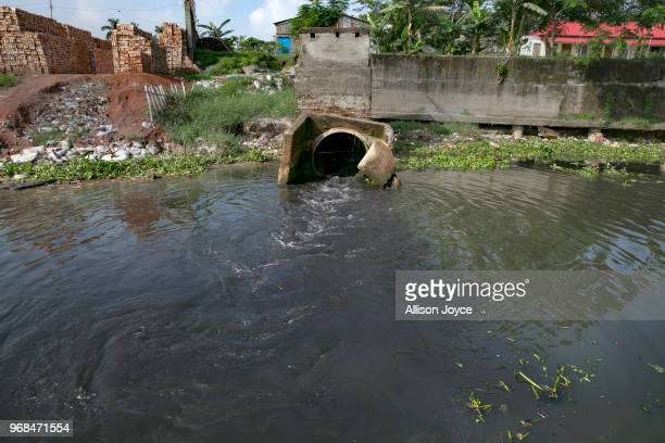 The waste from dying factories in Shyampur in dumped through a drainpipe into the Buriganga river June 5 2018 in Dhaka Bangladesh Bangladesh has been...