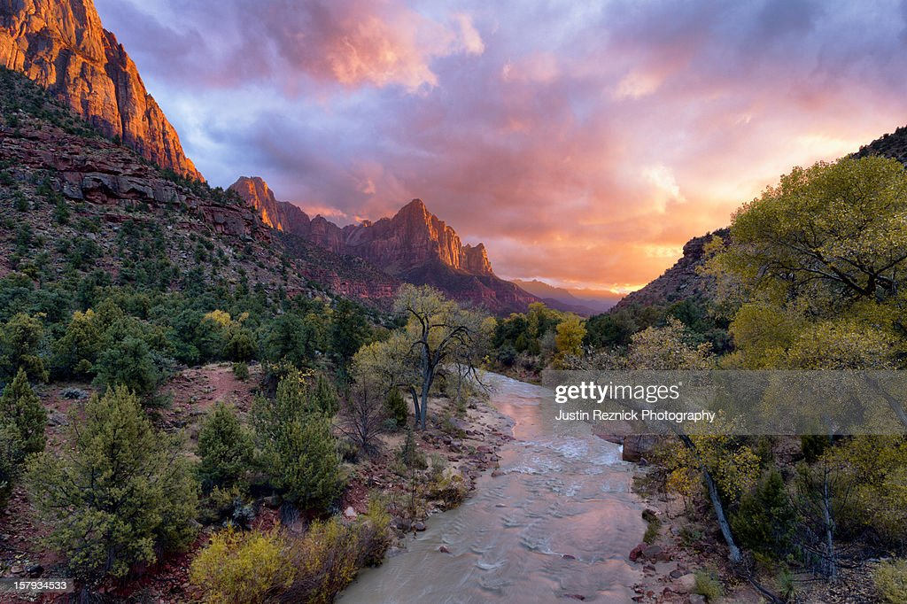 Sunset over the Watchman and the Virgin River.