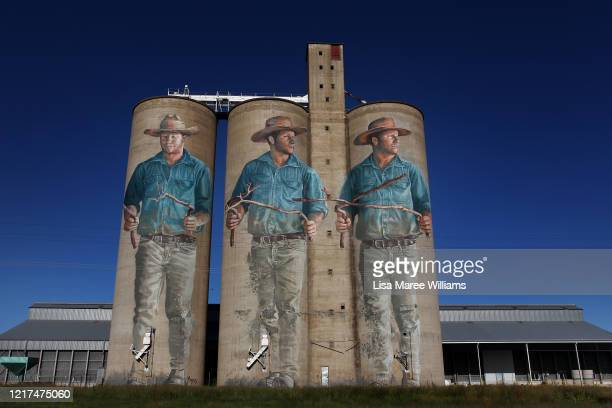 The Water Diviner' silo art usually a popular tourist destination is seen quiet on April 06, 2020 in Barraba, Australia. The Australian government...