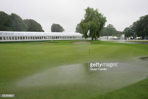 The water logged green on the ninth green before the abandonment of play of the first round of The Deutsche Bank Players Championship at Gut Kaden...