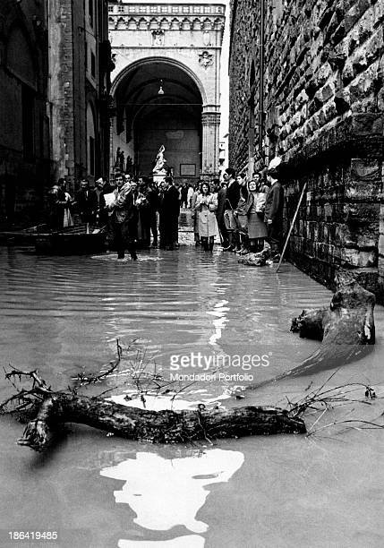 The water of the Arno River dragged some trunks to piazza della Signoria Florence November 1966
