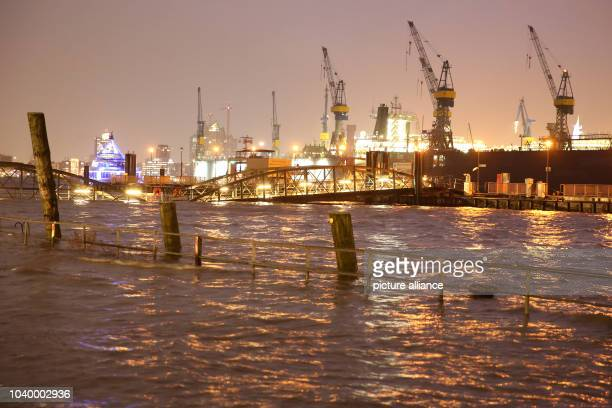 The water of the River Elbe is flooding fish market in Hamburg Germany 9 January 2015 With strong gusts of wind with speeds of up to 12 on the...
